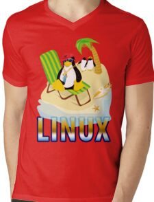 Funny with TUX (linux) Mens V-Neck T-Shirt