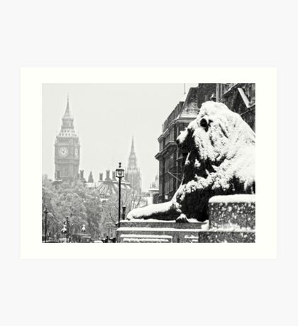 London Icons in the Snow Art Print