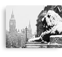London Icons in the Snow Canvas Print