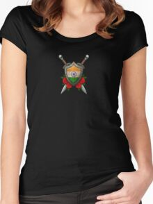 Indian Flag on a Worn Shield and Crossed Swords Women's Fitted Scoop T-Shirt