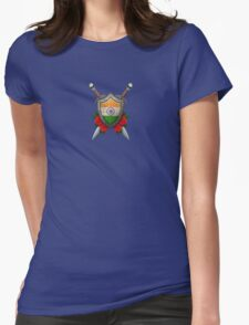 Indian Flag on a Worn Shield and Crossed Swords Womens Fitted T-Shirt