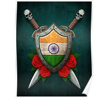 Indian Flag on a Worn Shield and Crossed Swords Poster