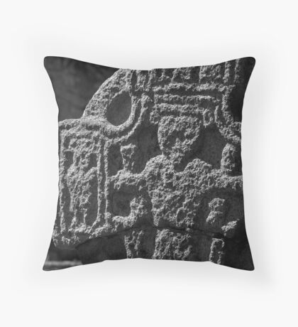 Irish High Cross in black and white, St Mullins, County Carlow, Ireland Throw Pillow
