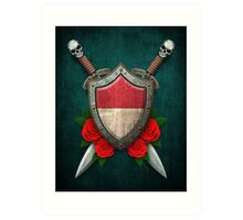 Indonesian Flag on a Worn Shield and Crossed Swords Art Print
