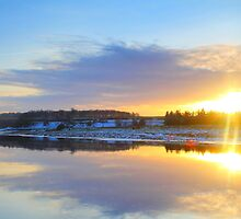 Sunset Sunburst over the River Tees, 5-Feb-2012 AD by Ian Alex Blease