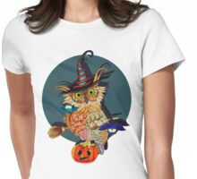 Owl Scary Womens Fitted T-Shirt