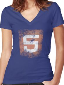 HTML5 Logo Distressed Women's Fitted V-Neck T-Shirt