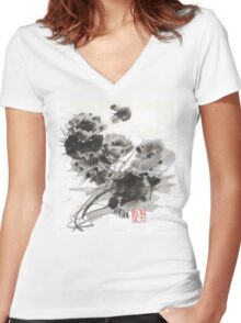 Desert Cactus Blooms by William Preston Women's Fitted V-Neck T-Shirt