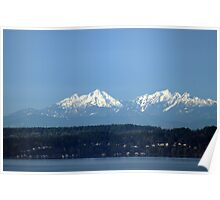 Olympic Mountains in the Morning Poster