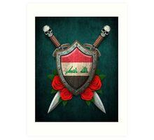 Iraqi Flag on a Worn Shield and Crossed Swords Art Print