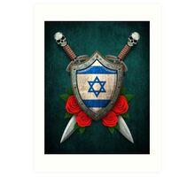 Israeli Flag on a Worn Shield and Crossed Swords Art Print