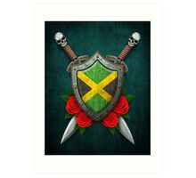 Jamaican Flag on a Worn Shield and Crossed Swords Art Print
