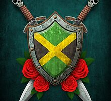 Jamaican Flag on a Worn Shield and Crossed Swords by Jeff Bartels