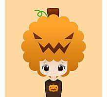 Pumpkin afro girl Photographic Print