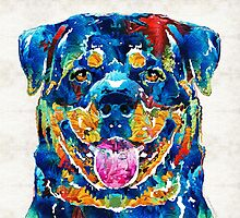 Colorful Rottie Art - Rottweiler by Sharon Cummings by Sharon Cummings