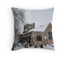 St Peter and St Paul, Headcorn In The Snow Throw Pillow
