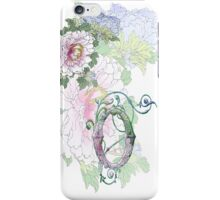 19th C. Peonies, Monogram O iPhone Case/Skin