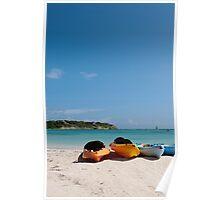 Kayaks on beach Poster