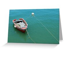 Old fishing boat at the port Greeting Card