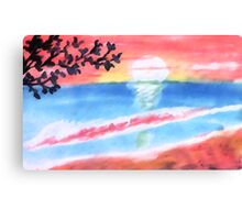 Sunset on the waves and beach, watercolor Canvas Print