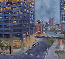 Two nights in Calgary, watercolor and mixed media on paper by Sandrine Pelissier