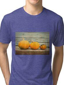 Pumpkins on a wooden background Tri-blend T-Shirt