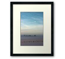 Snow, mist and moon Framed Print