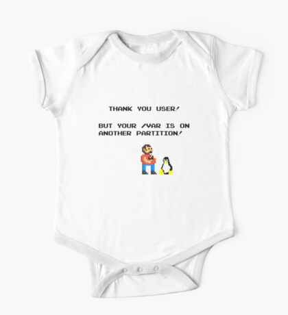 linux tux mario like troll One Piece - Short Sleeve