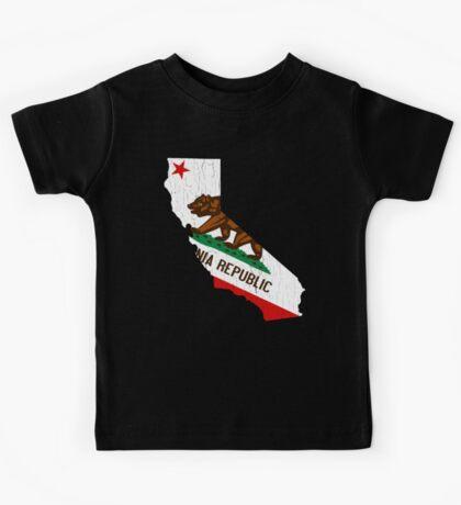 California State Bear Flag (vintage distressed design) Kids Tee