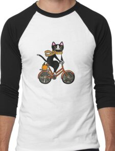 Cat on a Bicycle  Men's Baseball ¾ T-Shirt