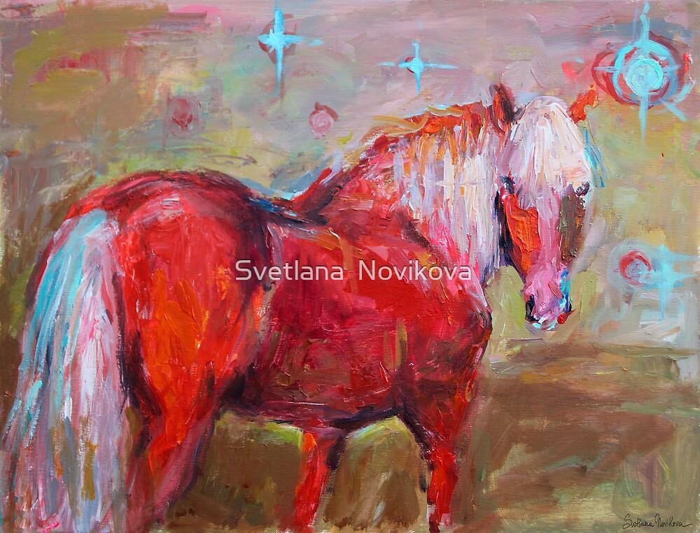 Contemporary Red Horse Painting Svetlana Novikova by Svetlana  Novikova