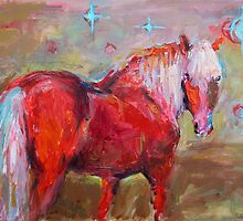 Contemporary Red Horse Painting Svetlana Novikova by Svetlana  Novikova