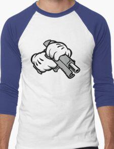 Ghetto Cartoon Hands with Gun Men's Baseball ¾ T-Shirt