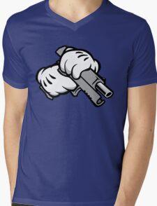 Ghetto Cartoon Hands with Gun Mens V-Neck T-Shirt