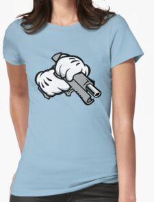 Ghetto Cartoon Hands with Gun Womens Fitted T-Shirt