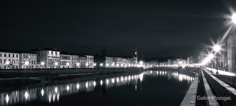River Arno by night, Pisa, Italy by Gabor Pozsgai