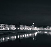River Arno by night, Pisa, Italy by Gabor Pozsgai