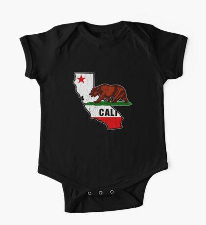 California Bear Flag (Distressed Vintage Design) One Piece - Short Sleeve
