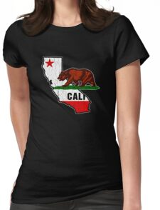California Bear Flag (Distressed Vintage Design) Womens Fitted T-Shirt