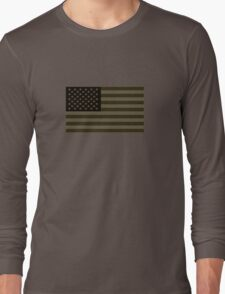 Subdued Olive Drab Military US Flag Long Sleeve T-Shirt
