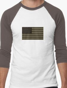 Subdued Olive Drab Military US Flag Men's Baseball ¾ T-Shirt