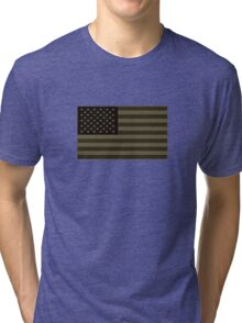 Subdued Olive Drab Military US Flag Tri-blend T-Shirt