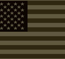 Subdued Olive Drab Military US Flag by robotface