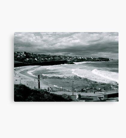 Bronte Beach Black and White Canvas Print