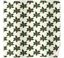 Holly Leaves Pattern Print Poster