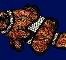 Coloured Clownfish Line Drawing (Airbrush) by becSamways