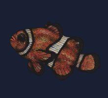 Coloured Clownfish Line Drawing (Airbrush) Kids Tee