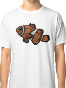 Coloured Clownfish Line Drawing (Airbrush) Classic T-Shirt