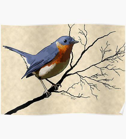 Little Bird Blue Poster
