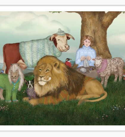 The Hand Knitted Peaceable Kingdom  Sticker